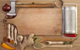 Обои молоток, доска, специи, чеснок, имбирь, приправы, чёрный перец