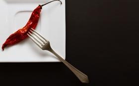 Обои тарелка, перец, вилка