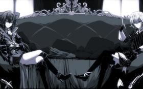 Картинка девушки, диван, сапоги, подушки, арт, бант, чепчик