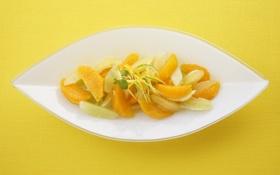 Обои лимон, апельсин, еда, лайм, форма, желтый фон, десерт