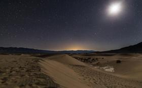 Картинка горы, ночь, природа, луна, пустыня
