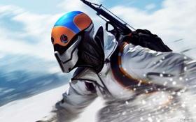 Картинка зима, снег, горы, оружие, шлем, парень, art