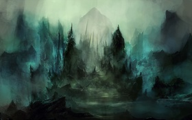 Картинка горы, ночь, туман, гробница