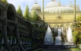 Картинка деревья, город, парк, арт, колонны, арки, фонтаны