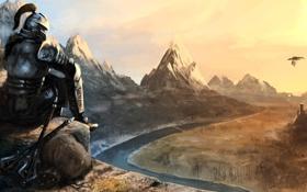 Картинка полет, горы, река, оружие, скалы, дракон, вид
