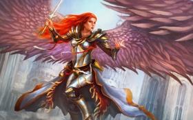 Обои девушка, меч, арт, в небе, ангел. крылья