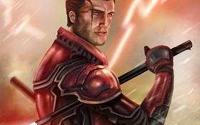 Обои оружие, арт, мужчина, star wars, красные глаза, sith lord, световой меч