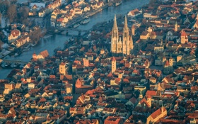 Картинка река, Дунай, Бавария, собор, панорама, Регенсбург, Германия