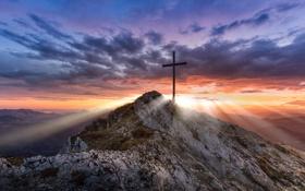 Обои закат, горы, природа, высота, крест, долина, панорама