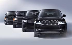 Обои фон, чёрный, джип, внедорожник, Land Rover, Range Rover, эволюция