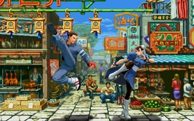 Обои улица, драка, Китай, фонарики, рынок, street fighter, Chun Li