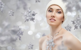 Картинка взгляд, девушка, снежинки, шапочка, очарование