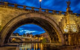 Обои город, вечер, освещение, Рим, фонари, архитектура, Italy