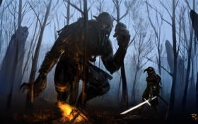 Картинка лес, человек, меч, доспехи, воин, великан, арт