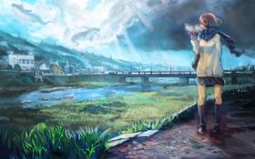 Картинка небо, девушка, облака, город, река, дома, аниме
