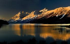 Картинка снег, пейзаж, горы, река, фон, обои, вершины