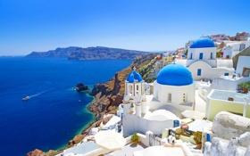 Обои море, небо, остров, дома, Санторини, Греция, купол