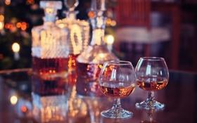 Картинка стол, праздник, бокалы, коньяк, напитки, виски, боке