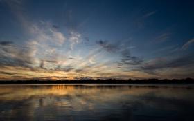 Обои закат, небо, озеро