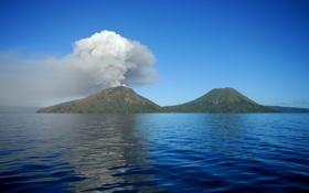 Обои дым, остров, вулкан, извержение