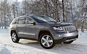 Картинка зима, снег, деревья, джип, внедорожник, Jeep, Grand Cherokee
