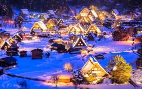 Обои зима, снег, ночь, огни, дома, Япония, долина