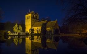 Обои Buckinghamshire, Reflections, St. Batholemew, Fingest