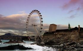 Картинка город, Лондон, катастрофа, колесо