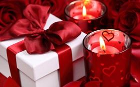 Обои подарок, розы, свечи, лента, red, бантик, Valentine`s day