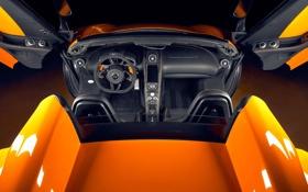 Обои оранжевый, McLaren, родстер, салон, MP4-12C, спайдер, rear