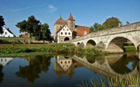 Обои мост, река, вид, памятник, архитектура, особняк, каменный