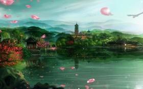 Картинка озеро, холмы, азия, дома, лепестки, сакура, арт