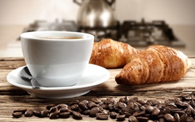 Обои кофе, чайник, кофейные зерна, круассаны