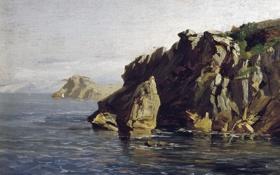 Обои пейзаж, Карлос де Хаэс, картина, Скалы Санта Каталина