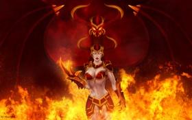 Картинка девушка, огонь, дракон, арт, когти, рога, шлем