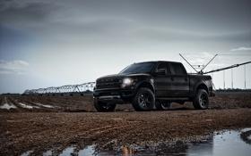 Обои небо, дождь, чёрный, тюнинг, Ford, лужа, форд