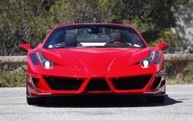 Обои машина, красный, фары, Ferrari, 458, передок, Mansory