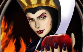 Обои мультфильм, яблоко, королева, белоснежка и семь гномов, дисней, queen, Snow White and the Seven Dwarfs