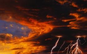Обои небо, закат, молнии, молния, Гроза