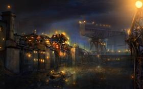 Обои арт, город, ночь, вода, огни