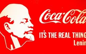 Обои плакат, coca cola, ленин