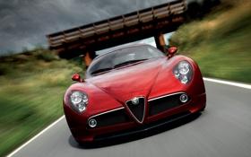 Картинка машина, мост, природа, скорость, Alfa Romeo