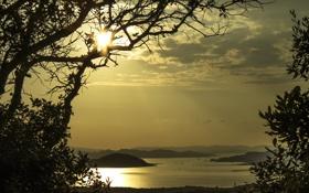 Обои небо, деревья, горы, озеро, силуэт