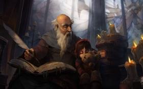 Обои перо, игрушка, книги, свечи, окно, арт, книга