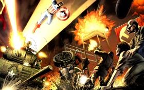 Картинка war, marvel, comics, captain america, капитан америка, hero