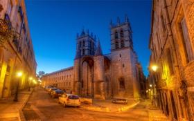 Обои France, машины, ночь, A Dusk Walk in Montpellier, огни