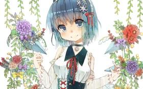 Обои девушка, цветы, улыбка, арт, touhou, cirno, снежнки