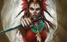 Обои девушка, арт, раскраска, кинжалы, Diablo III, шаман, Witch Doctor