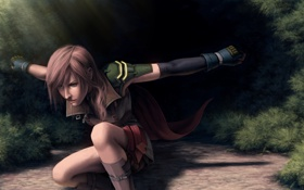 Обои лес, девушка, поза, кулон, Final Fantasy, лучи солнца, Lightning