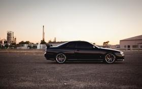 Картинка gtr, railroad, черный, black, skyline, Nissan, профиль